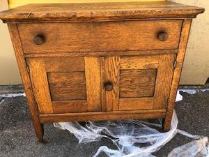 Antique Bedside/ SIDE TABLE - 1 drawer and double doors on the bottom 28x32x17 solid wood