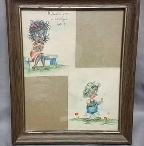 Vintage Black Americana greeting card in frame