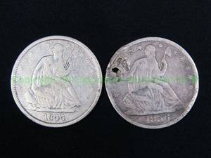 Silver antique 1844 & 1856 seated Liberty half dollars