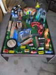 Pull Train/Car Play Table With Drawer, LOTS of Pull Trains Cars And  Extras