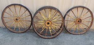 4  Vintage Yellow Wagon Wheels   25""
