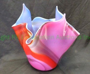 "Genuine Murano hand blown glass Handkerchief vase 14"" tall x 15"" at widest point"