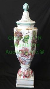 "Hand painted Italian ceramic lidded finial urn, 44"" tall"
