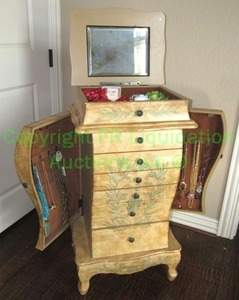 Antique style jewelry armoire with contents of fashion jewelry, 37'' x 20'' x 14''