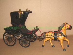 "Large polychrome horse drawn carriage display, 34"" length"