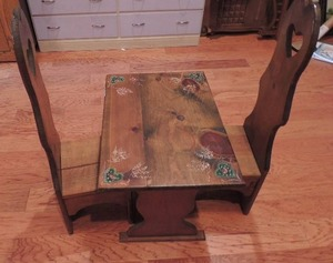 Childs wooden table 19x23x16 and 2 matching high back chairs 33 x 11 x 12