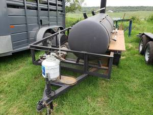 "Custom Fabricated Propane Barbecue Smoker Trailer (Bill of Sale)  6'10"" x 11'6"""