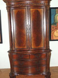 Cortina - Royal Cherry Armoire/HUTCH  2 piece 84x44x26 top piece has 2 doors , bottom has drawers