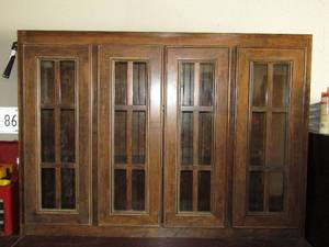 Maple wood stained finish glass door china cabinet