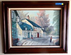 Charming Original Oil in Custom Wood Frame by Artist F Allen - 1986