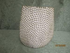 "CERAMIC 10"" H GOLD AND WHITE VASE"