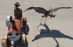 METAL YARD ART  Toucan 54x37 and Vintage tractor  32x38