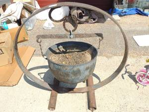 "Cast Iron Pot ON HANGER RING - RING  48"" and pot 22"""