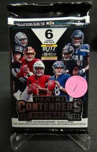 2019 CONTENDERS FOOTBALL SEALED HOBBY PACK. 5 AUTOS PER BOX ($20 COMPS)