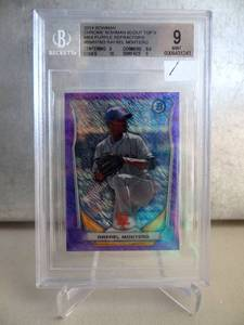 BECKETT MINT 9 - 2014 Bowman Chrome Scout Top 5 Mini Purple Refractors #BMNYM3 Rafael Montero /99