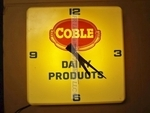 Mid century Coble Dairy products illuminated promotional clock