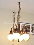 Antique early 1900's electric articulating dental lamp converted to chandelier