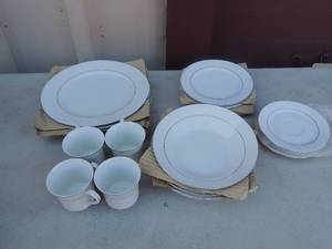 "Classic Platinum CHINA  4236  SERVICE FOR 4  20 PCS - SOUP bowls x 4,  10"" dinner plates x 4, salad plates x4  dessert plates x4,  coffee cups x 4"