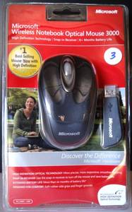 Microsoft Wireless Notebook Optical Mouse 3000 PC / Mac - USB New ($30.00 RETAIL)