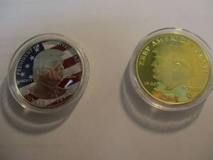 2- NEW - DOLAND J TRUMP-COLLECTORS COINS. IN PLASTIC CAPSULES