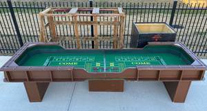 Full Size Craps Table with roller for table and woodenbox on wheels for base