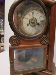 "ANTIQUE MANTLE CLOCK  HAS   PENDULUM & KEY  15""H X 10"" AT BASE"