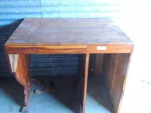 "Solid wood desk has 2 drawers that need repair  30"" tall 36 wide 24 "" deep"