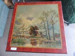 "Brown foldable table, farmhouse landscape  Art design signed  A. Herby,27"" tall 27"" wide"