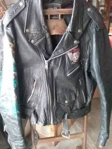 Custom Harley Davidson Jacket, Leather with Airbrushed Dragon on Sleeve