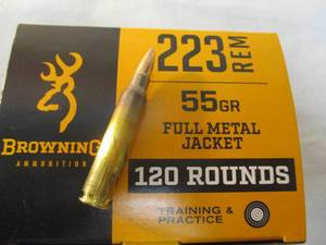 Browning .223 Rem Full Metal Jacket, 55-Gr. Ammunition, Box Of 120-Rounds-New