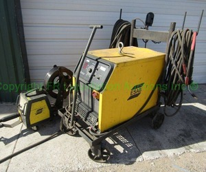 ESAB 653cvcc mig welder with wire feed 304 system, on cart