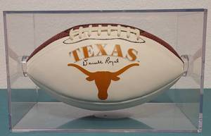 TEXAS LONGHORNS FOOTBALL SIGNED BY LEGENDARY COACH DARRELL ROYAL AS SHOWN.