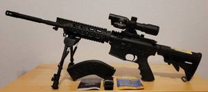WINDHAM WEAPONRY AR15 RIFLE MODEL WW15 IN 7.62X39 CAL. WITH MAGAZINE, ADJUSTABLE SPRING RETURN TACTICAL RIFLE MOUNT BIPOD, AIM SPORTS 1.5-5X32 DUAL ILLUMINATED TACTICAL SCOPE, STRAP, AND CASE AS SHOWN. ***PLEASE READ ITEM DESCRIPTION***