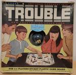VINTAGE 1965 KOHNER TROUBLE POP-O-MATIC BOARD GAME No. 310 WITH ORIGINAL BOX AS SHOWN.
