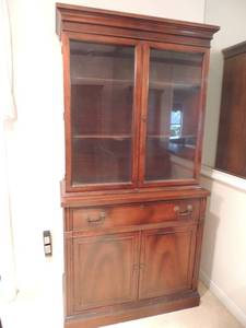 Beautiful Hutch with double glass doors on top 1 middle drawer double wooden doors on bottom 2 tier shelving 69x35x17