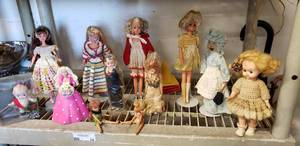 Vintage Dolls and Barbie Dolls,  many with Crochet Outfits