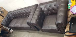 "Dark Brown Bonded Leather Sofa (92""x 37"" x 33"") and Matching Arm Chair (43"" x 37"" x 33"") Approx. with Button Tufted Back and Arms"