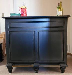 "[48"" W x 20"" D x 42"" H] HOME BAR WITH WINE STORAGE AND MORE IN STYLE, COLOR, AND CONDITION SHOWN. SEE PICTURES!! [CONTENTS SEEN NOT INCLUDED]"