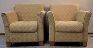 LOT OF 2 UPHOLSTERED ACCENT CHAIRS WITH WOOD FEET IN STYLE, COLOR, AND CONDITION SHOWN. (YOUR BID X 2)