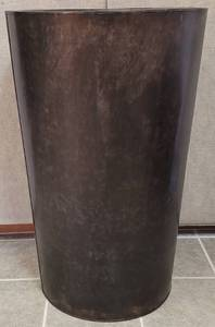 "EXTRA LARGE SIZE [23.5"" DIA x 36"" H] METAL PLANTER IN STYLE, COLOR, AND CONDITION SHOWN."