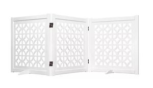 "27"" Folding Wood Pet Gate ""Palm Springs"" - White - Spans to 81"", MSRP $117.99"