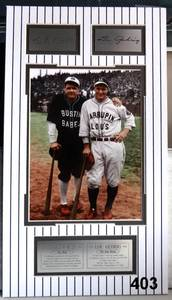 CUSTOM MATTED BABE RUTH/LOE GEHRIG DISPLAY WITH BRASS ENGRAVED PLATES READY TO FRAME - $99.00 VALUE