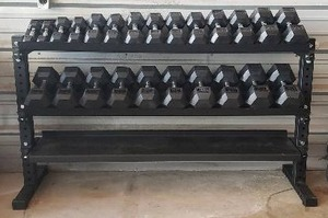 Rogue Rubber Hex Dumbbell Set (5 lbs to 60 lbs) with Rogue Universal Storage System 2.0 Rack