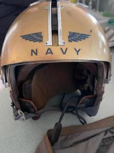 Vintage Navy Pilot Helmet gold & blue in canvas carry bag