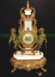 "Antique German ormolu gilded ornate brass and marble cherub mantle clock, 23"" tall"