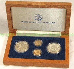 Gold (1/4 oz. x 2) and Silver (1 oz. x 2) U.S. Constitutional commemorative coin set with COA
