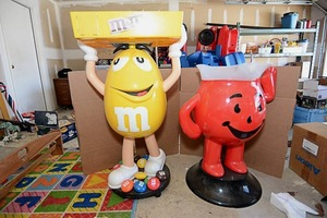 "46"" Tall Peanut M&M Decorative Ice and Drink Holder, 34"" Tall Red Kool Aid Man Ice and Drink Holder"