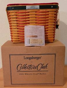 "LONGABERGER 2001 ""WHISTLE STOP"" COLLECTOR'S CLUB BASKET WITH COA AND BOX."
