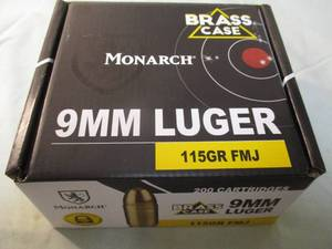 200-Rounds Of - Monarch 9-MM LUGER, BRASS CASE, 115-Grain, FMJ Cartridges