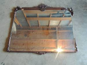 Antique ornate carved wood framed mirror with scroll and acanthus leaf motif (some trim needs attention)
